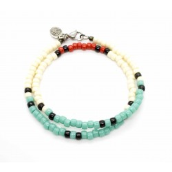 Matubo double bracelet turquoise, ivoire & red