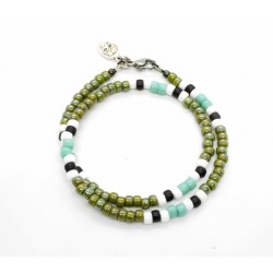 Bracelet double tour Matubo kaki, turquoise & blanc