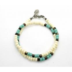 Bracelet double tour Matubo ivoire, turquoise & bronze