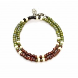 Bracelet double tour Matubo kaki & brique
