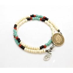 Bracelet double tour Matubo Indian Cent 1900's