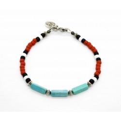Bracelet Native style rouge et turquoise mexicaine