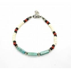 Bracelet Native style ivoire et turquoise mexicaine