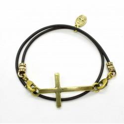 Bracelet lacet cuir 2 tours croix finition laiton