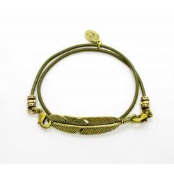 Bracelet lacet cuir 2 tours plume finition laiton