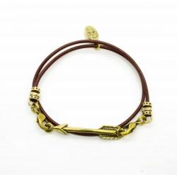 Bracelet lacet cuir 2 tours fleche finition laiton