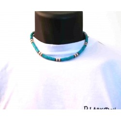 Collier heishi Howlite turquoise 80's