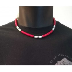Collier heishi Corail rouge et blanc 80's