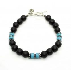 Bracelet Onyx mat et Howlite turquoise