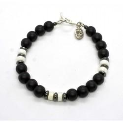 Bracelet Onyx mat et Corail blanc