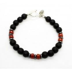 Bracelet Onyx mat et Corail rouge