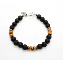 Bracelet Onyx mat et Corail orange