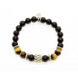 Bracelet Œil de tigre, Onyx et perle tressée