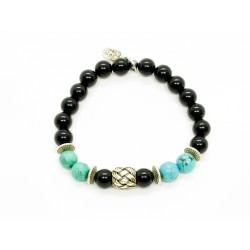 Bracelet Magnésite, Onyx et perle tressée