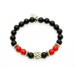 Bracelet Jade rouge, Onyx et perle tressée