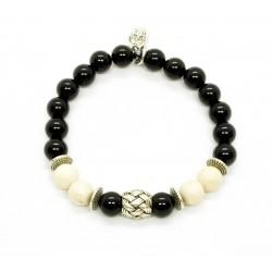 Bracelet Riverstone ivoire, Onyx et perle tressée