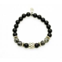 Bracelet Larvikite, Onyx et perle tressée