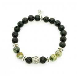 Bracelet Turquoise Africaine, Pierre de lave et perle tressée