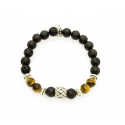 Bracelet Oeil de tigre mat, Pierre de lave et perle tressée