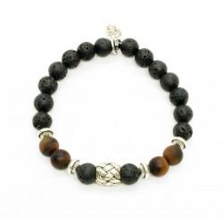 Bracelet Bull eye matt, lava stone and braided bead