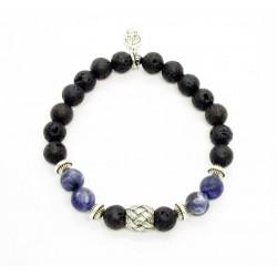 Bracelet Sodalite mat, Pierre de lave et perle tressée