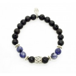 Bracelet Sodalite matte, lava stone and braided bead