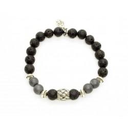 Bracelet Matt hematite, lava stone and braided bead