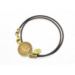 """Bracelet lacet cuir 2 tours """"Indian Penny"""" 1900's"""