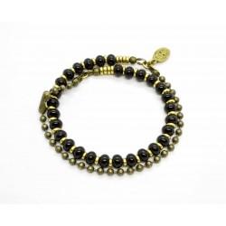 Bracelet double Onyx et chaine boule