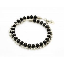 Double Onyx and ball chain bracelet