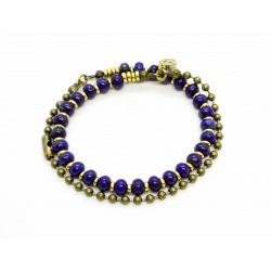 Bracelet double lapis Lazuli et chaine boule