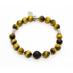 Bracelet Oeil de tigre et Obsidienne sculptée