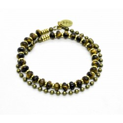 Double Tiger eye and ball chain bracelet