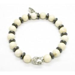 Bracelet Riverstone et tête de Bouddha argenté