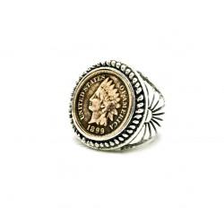 Bague chevalière argent Indian Penny ou Lincoln Cent