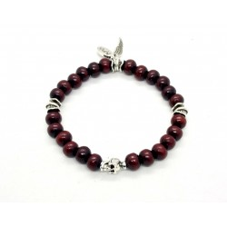 Burgundy sandalwood and patinated pewter skull bracelet