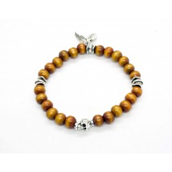 Sandalwood cognac and patinated pewter skull bracelet