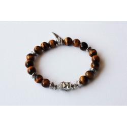 Bracelet oeil de tigre et tête de bouddha argentée
