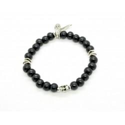 Bracelet bois de santal noir et skull plaqué argent