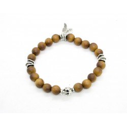 Natural sandalwood and patinated pewter skull bracelet