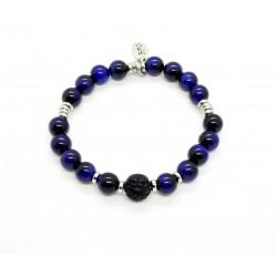 Bracelet Oeil de tigre bleu et Obsidienne sculptée