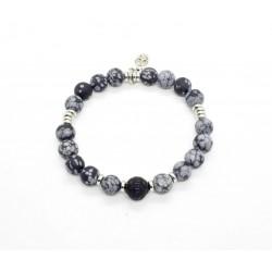 Bracelet Obsidienne flocon mat et Obsidienne sculptée