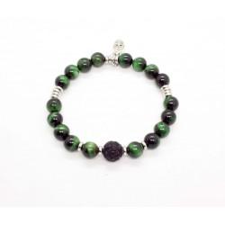 Bracelet Oeil de tigre vert et Obsidienne sculptée