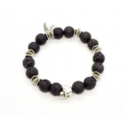 Lava stone and patinated pewter skull bracelet