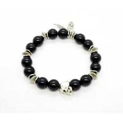Bracelet Onyx noir brillant et skull étain patiné