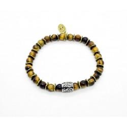 Bracelet mini Oeil de tigre et perle ciselée