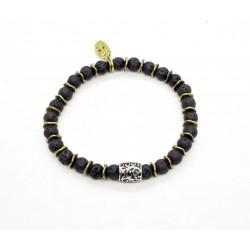 Bracelet mini Pierre de lave et perle ciselée