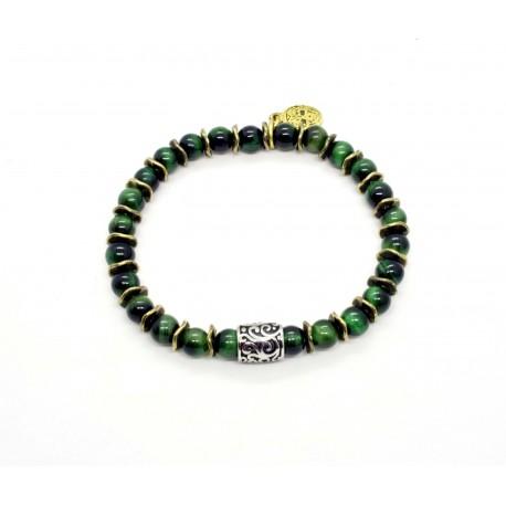 Bracelet mini Oeil de tigre vert et perle ciselée