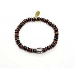 Bracelet mini Oeil de taureau et perle ciselée