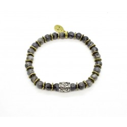 Bracelet mini Larvikite et perle ciselée